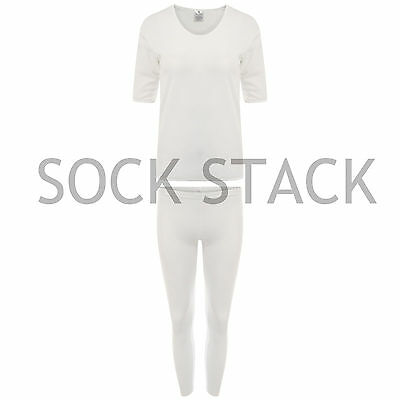Ladies Thermal Underwear, White Warm Winter Thermal Baselayers, Size 8-24