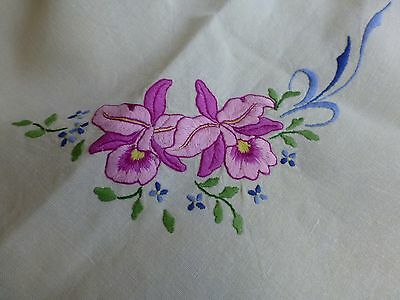 Vintage antique style hand embroidered linen tea tablecloth - orchid flowers
