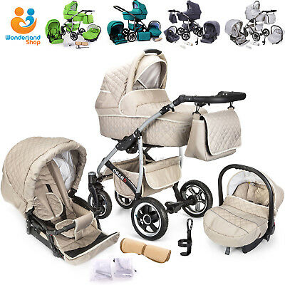Baby Pram Buggy Stroller 3 in 1 Pushchair Car Seat Carrycot Travel System