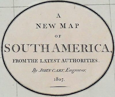 1807 Large Antique Map Chart John Cary South America Hand Color Double Folio