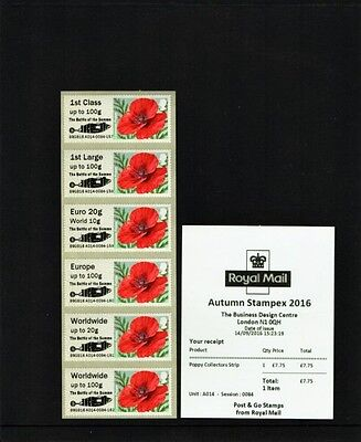 POPPY Ma15 SOMME OVERPRINT A014 STAMPEX AUTUMN 2016 POST GO COLLECTOR STRIP OF 6