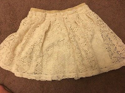 Zara Cream Skirt Age 6-7 Years Lined With Lace Overlay Elasticated Waistband