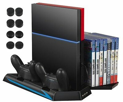 PS4 Cooler Amir PS4 Vertical Stand Cooling Fan Dual Charging Station with 14 ...