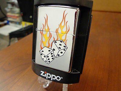 Craps Flaming Dice Casino Zippo Lighter Mint In Box 2005