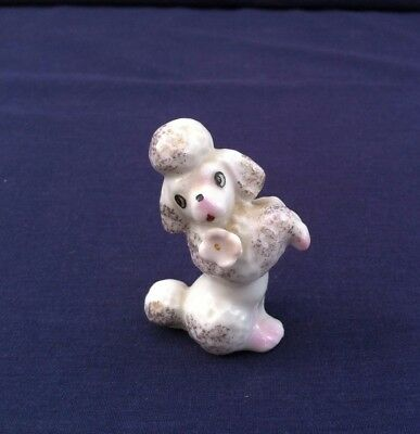Vintage Poodle Figurine Dog Canine White with Pink Accents Marked Japan Good
