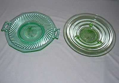 """Lot Set Of 2 Green Glass 11"""" Footed Plate Bowl 12"""" Plate With Handles Party Dish"""