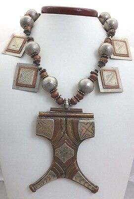 African Silver & Copper Tuareg Tcherot Pendant Necklace Ethiopian&Cameroon Beads