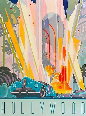 Southern California Hollywood Car  United States Travel Advertisement Poster