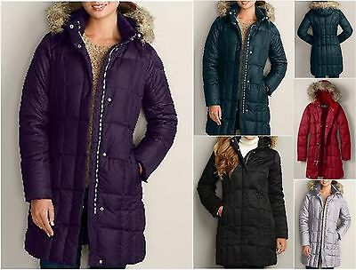 +14  NWT Eddie Bauer Womens Lodge Down Parka Coat 650 FP Faux Fur Hood 4 Colors