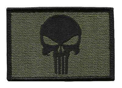 Punisher Skull Olive Green Tactical Military Morale Patch Parche Iron On