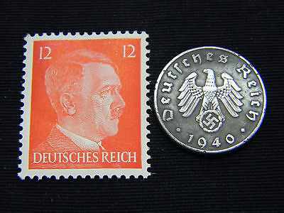 Authentic Rare Nazi 3rd Reich Coin wth SWASTIKA and HITLER Stamp WORLD WAR 2