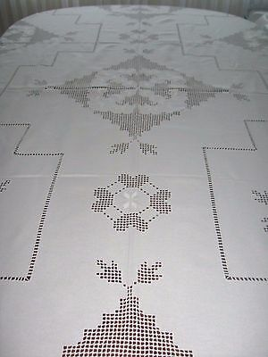 """Hardanger Table Cloth White on White Embroidery  133"""" x 57"""" Handmade in Hungary"""