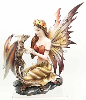 "7"" Height Sitting Scarlet Fairy with Pet Dragon Figurine Fantasy Magical Realm"