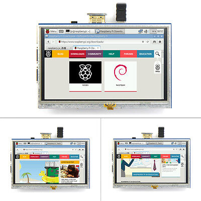 "5"" HDMI Resistive Touch Screen LCD 800×480 for Any Revision of Raspberry Pi IB1"