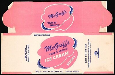 Vintage box McGRIFFS ICE CREAM dated 1948 Brooklyn Michigan unused n-mint cond
