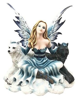 """9.25"""" Tall Princess Fairy With Two Guardian Black & White Wolf Figurine Fantasy"""