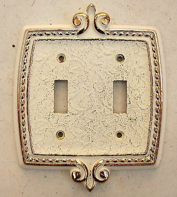 VINTAGE AMEROCK Double Light Switch Plate Cream & GOLD 1970's Never used!