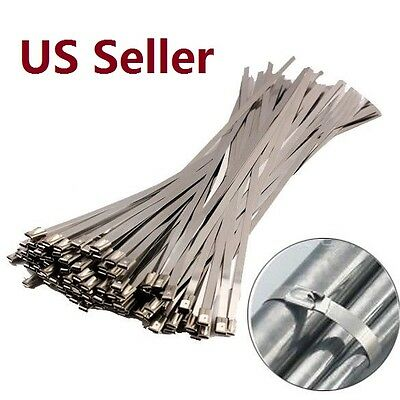 10 /100PCS Stainless Steel Ball Lock ZIP Straps Wrap Band Cable Tie Multi Length