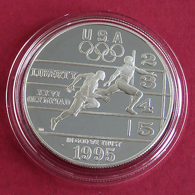 USA 1995 p ATLANTA OLYMPIC GAMES TRACK AND FIELD SILVER PROOF DOLLAR