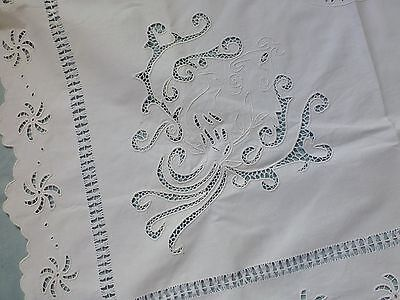 Antique vintage hand embroidered cutwork lace tea tablecloth 'Maltese cross'