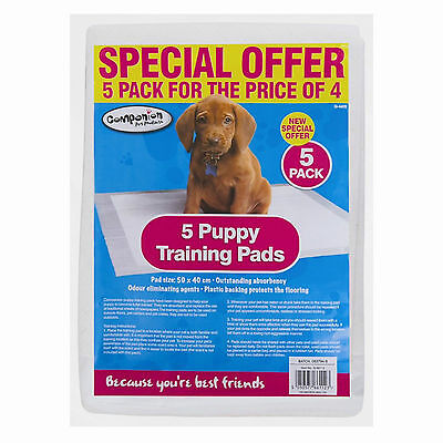 Puppy Training Pads Pack of 5 Absorbency Odour Eliminating 28cm x 20cm x 1.5cm