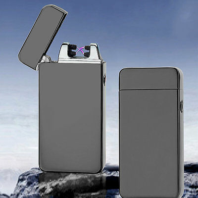 USB Electric Dual Arc Metal Flameless Torch Rechargeable Windproof Lighter FG