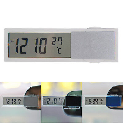2 in 1 Car Auto Digital Backlight LCD Clock Thermometer Monitor with Suction Cup
