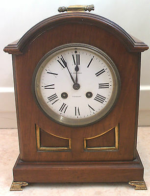 Japy Freres Victorian French Mahogany Case Enamel Dial Striking Mantle Clock GWO