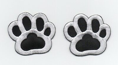 2 Dog Cat Paw Print Sew On Iron On Machine Made Embroidered Applique Patch