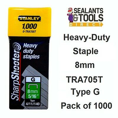 Stanley TRA7 Stapler Tacker Staples 8mm TRA705T 4 11 40 Type G 1000pk Hand Power