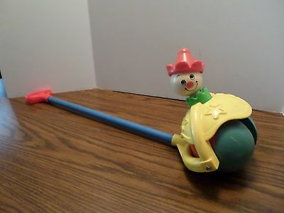 Vintage 1979 Fisher Price Clown Toy #758 Roll Along Popper Wood Handle Push Toy