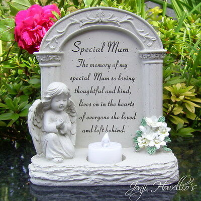 Special MUM Praying ANGEL Flickering Candle Graveside Memorial Plaque Ornament