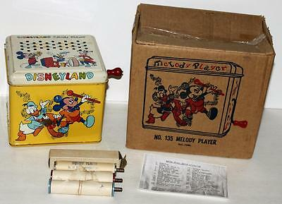 """EX!DISNEYLAND 1950's""""MELODY PLAYER""""#135 MUSICAL TOY BOXED SET+4 MUSIC ROLLS+MORE"""