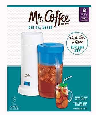 Iced Tea Maker Mr Coffee Loose Bagged Blue 2 Quart Refresh Cold Machine Easy New