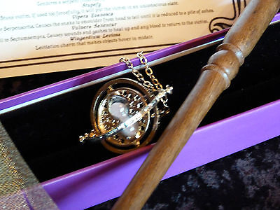 TT1  Wooden Magic Wand, Hermione Granger Time Turner necklace,List of Spells.