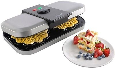 VonShef Electric Double Waffle Maker Iron Non Stick Thermostat Control Machine