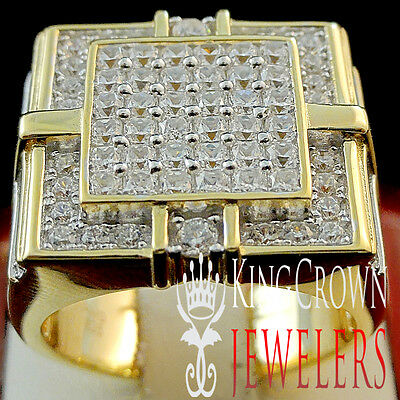 Big XL 10K Yellow Gold On Real Sterling Silver Mens Lab Diamond Pinky Ring Band