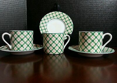 3 demitasse cups and saucers TATTERSAL Fitz and Floyd green and orange plaid