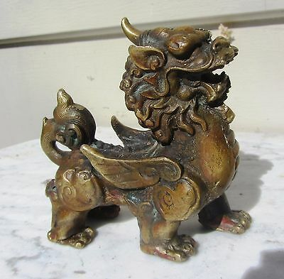 Exceptional Antique Chinese Bronze Dragon / Unicorn Scroll Weight