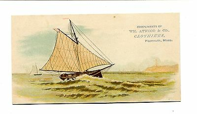 Victorian Trade Card WILLIAM ATWOOD & CO CLOTHIERS Plymouth MA sailboat