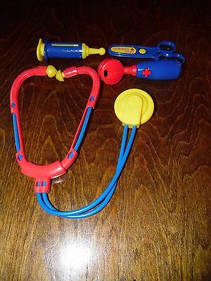 Pretend Play Doctor Red Blue & Yellow Stethoscope Scissors Needle & Thermometer