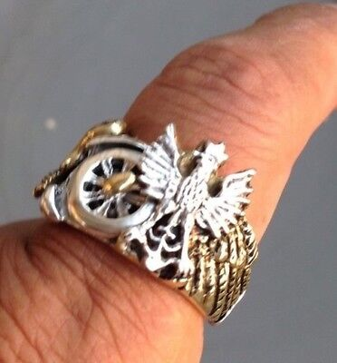 Polish eagle Movable winged wheel motorcycle ring sterling silver Gold alloy