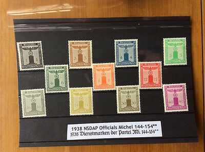 EBS Germany 1938 Official NSDAP Stamps full set mint Michel 144-154 MNH**
