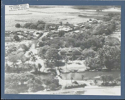"""Historic Aerial View Of Haleiwa Town & Hotel, 1920+?oahu  On 8X10"""" Blue Mat"""