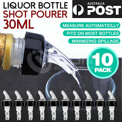 10 x DISPENSER BOTTLE STOPPER LIQUOR SPIRIT POURER NIP BAR SHOT 30ml ALCOHOL