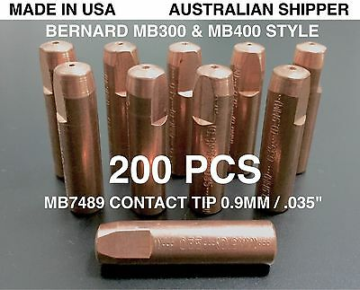 "200Pcs Bernard Mb7489 0.9Mm .035"" Style Contact Tips, Made In Usa - Free Post"