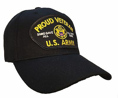 Proud Veteran Hat Black Ball Cap U.S. Army Veteran Vet Hat