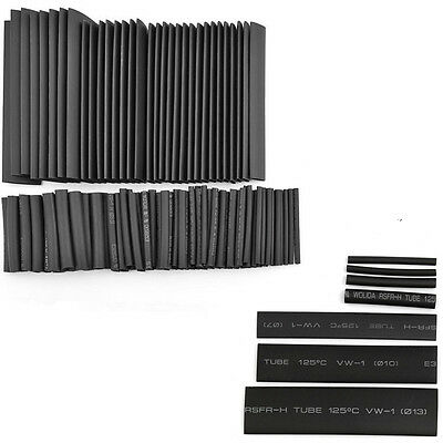 127PCS Assortment Heat Shrink Sleeve Electrical Cable Tube Tubing Wire Kit Black