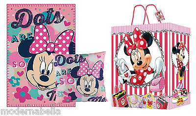 Minnie Mouse set regalo Coperta Plaid in Pile + Cusino + Borsa , bambina disney