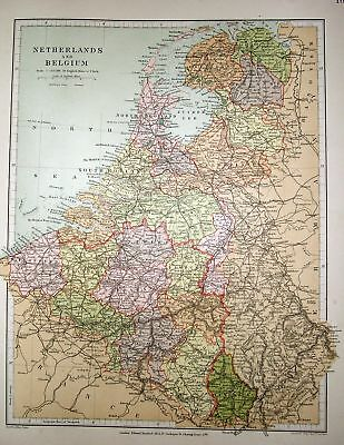 Stanford's 1892 Map Of Netherlands & Belgium